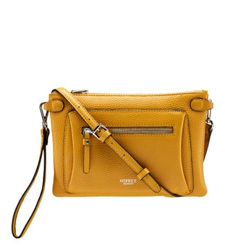 The Ruby Leather Cross-Body Clutch in mustard yellow | OSPREY LONDON