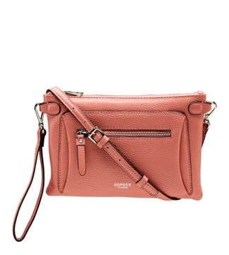 The Ruby Leather Cross-Body Clutch in peach | OSPREY LONDON