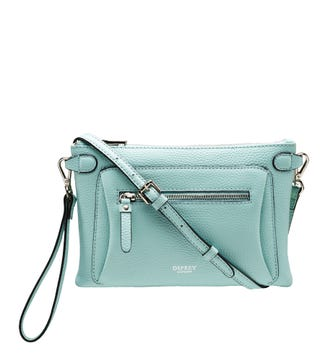 The Ruby Leather Cross-Body Clutch in sea spray | OSPREY LONDON