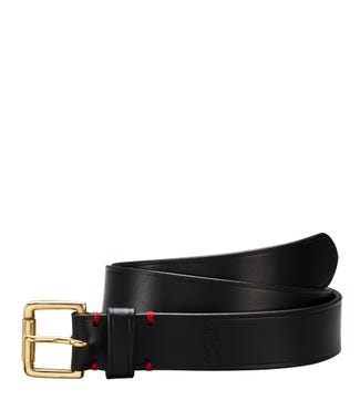 The Santiago 3.5cm Leather Jeans Belt in black | OSPREY LONDON