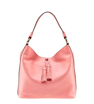 The Savanna Leather Hobo in strawberry pink | OSPREY LONDON