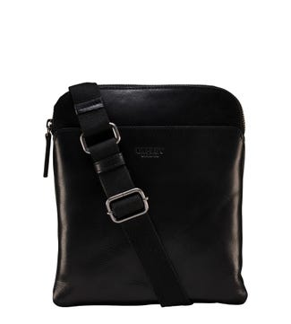 The Small Fieldy Leather Messenger in black | OSPREY LONDON