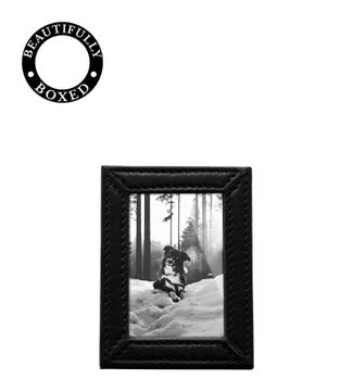 The Small Boxed Leather Photo Frame in black | OSPREY LONDON