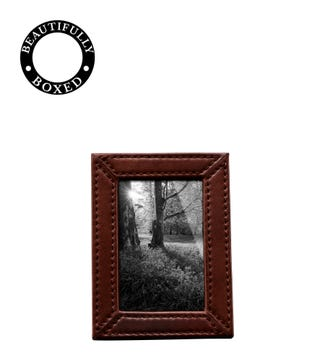 The Small Boxed Leather Photo Frame in chocolate | OSPREY LONDON