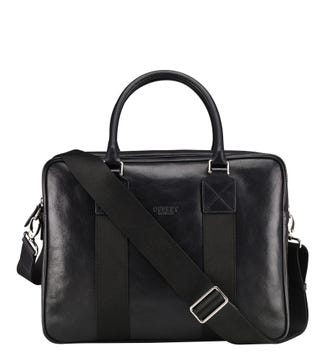 The Stills Leather Laptop Bag in black | OSPREY LONDON
