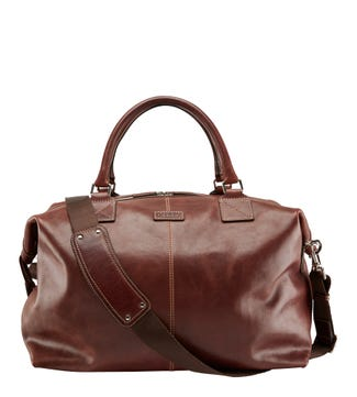 The Stowaway Leather Holdall in chocolate | OSPREY LONDON