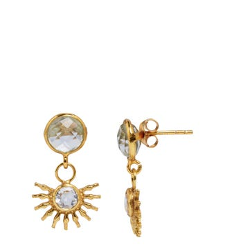 The Sunburst 18ct Gold Vermeil Stud Earrings in crystal | OSPREY LONDON