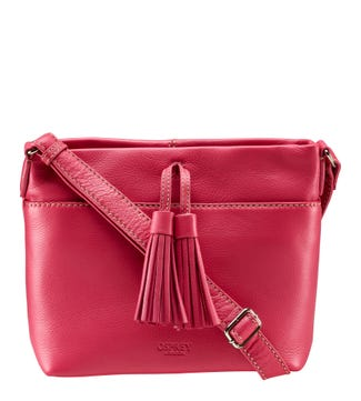 The Savanna Leather Cross-Body in candy pink | OSPREY LONDON
