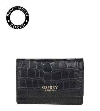 The Alban Leather Business Cardholder Purse in black | OSPREY LONDON