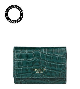 The Alban Leather Business Cardholder Purse in forest green | OSPREY LONDON