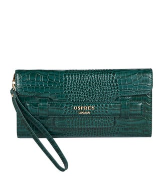 The Alban Leather Clutch in forest green | OSPREY LONDON