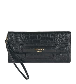 The Alban Leather Clutch in black | OSPREY LONDON