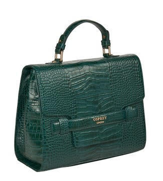 The Alban Leather Grab in forest green | OSPREY LONDON