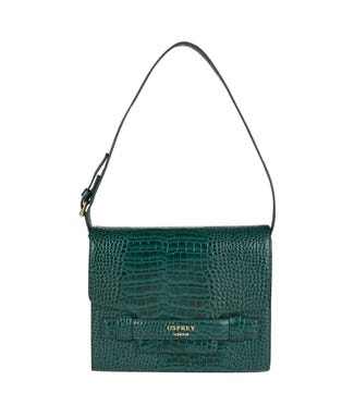 The Alban Leather Convertible Shoulder Bag in forest green | OSPREY LONDON