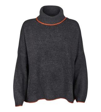 The Alex Roll Neck Cashmere Jumper in grey & orange | OSPREY LONDON