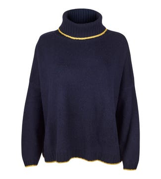 The Alex Roll Neck Cashmere Jumper in navy & yellow | OSPREY LONDON