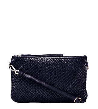 The Alia Leather Slimline Cross-Body Clutch in navy blue | OSPREY LONDON