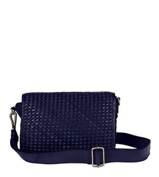The Alia Leather Cross-Body in navy blue | OSPREY LONDON