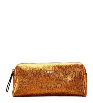 The Angelica Italian Leather Make-Up Bag in pumpkin