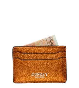 The Angelica Leather Cardholder in pumpkin | OSPREY LONDON