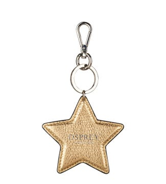 The Angelica Star Italian Leather Keyring in gold | OSPREY LONDON