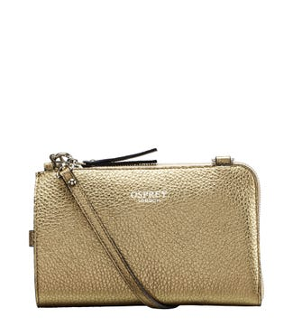 The Angelica Italian Leather Tech Pouch in gold | OSPREY LONDON