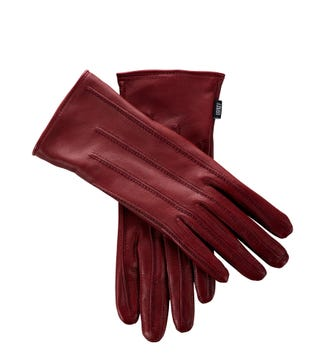 The Ava Leather Gloves in burgundy red | OSPREY LONDON