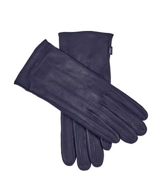 The Ava Leather Gloves in navy blue | OSPREY LONDON