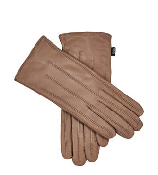 The Ava Leather Gloves in stone | OSPREY LONDON
