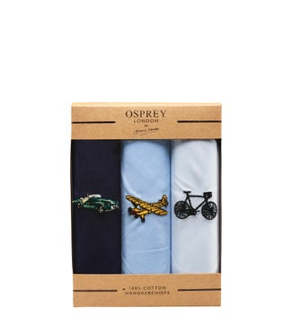 The Axle Handkerchief Set of 3 in blue and white | OSPREY LONDON