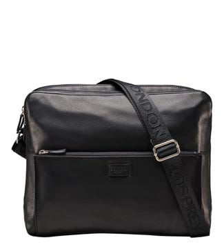 The Baltimore Leather Business Messenger in black | OSPREY LONDON