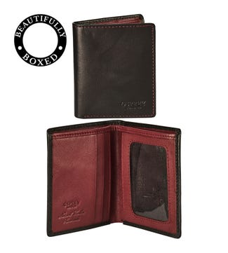 The Bearsted Leather Credit Cardholder in black and bordeaux | OSPREY LONDON