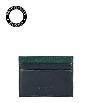 The Bearsted Leather Card Slip in black & forest green | OSPREY LONDON