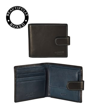 The Bearsted Leather Popper Coin Wallet in black and blue | OSPREY LONDON