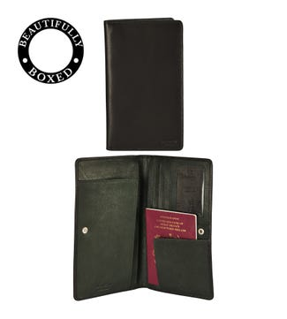 The Bearsted Leather Travel Organiser Wallet in black and forest green | OSPREY LONDON