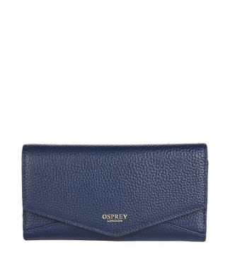 The Belgravia Leather Matinee Purse in navy blue | OSPREY LONDON