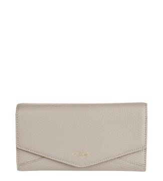 The Belgravia Leather Matinee Purse in taupe | OSPREY LONDON