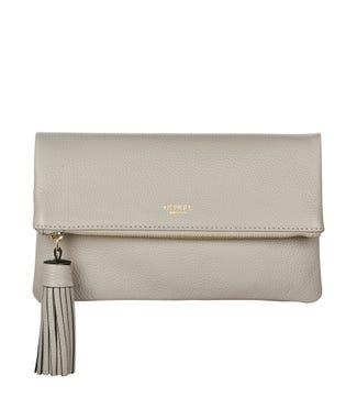 The Bexley Leather Clutch in taupe | OSPREY LONDON