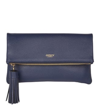 The Bexley Leather Clutch in navy blue | OSPREY LONDON