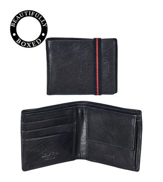 The Bonnington E/W Leather Coin Wallet in navy blue | OSPREY LONDON