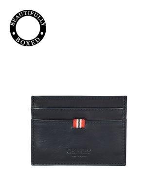 The Bonnington Leather Card Slip in black | OSPREY LONDON