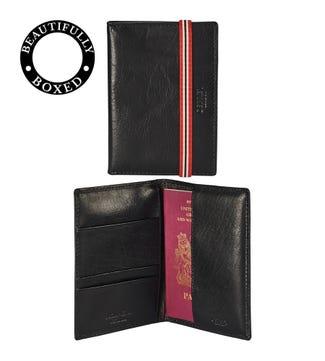 The Bonnington Leather Passport Cover in black | OSPREY LONDON
