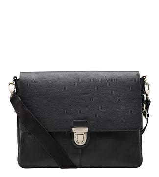 The Broadgate Leather Laptop Bag in black | OSPREY LONDON