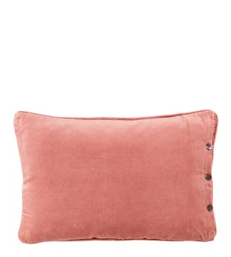 The Button Velvet Cushion blush pink | OSPREY LONDON