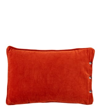 The Button Velvet Cushion red ochre | OSPREY LONDON