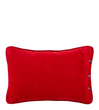 The Button Velvet Cushion red | OSPREY LONDON