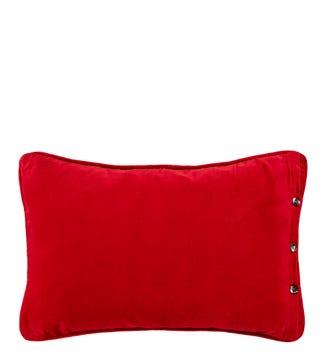 The Button Velvet Cushion red   OSPREY LONDON