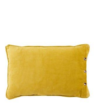 The Button Velvet Cushion yellow ochre   OSPREY LONDON
