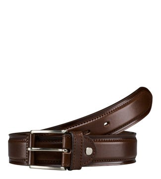 The Caine 3.5cm Leather Belt in chocolate | OSPREY LONDON