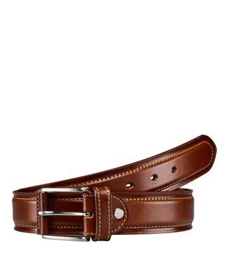 The Caine 3.5cm Leather Belt in cognac | OSPREY LONDON